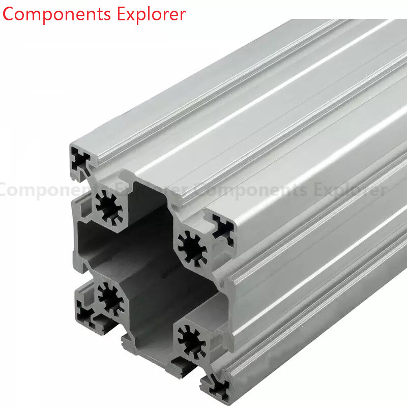 Arbitrary Cutting 1000mm 9090W Aluminum Extrusion Profile,Silvery Color.
