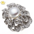 HUTANG Luxury Freshwater Pearl Ring Solid 925 Sterling Silver Flower Rings Women's Party wedding Fine Jewelry (9-9.5mm)