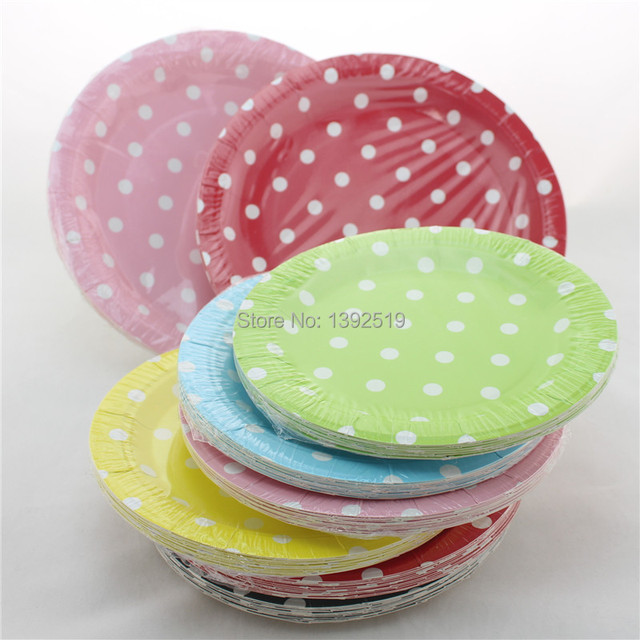 Wholesale 120pcs 7\  Small Round Paper Plates Polka Dot Plates Baby Pink Red Green Yellow & Wholesale 120pcs 7\