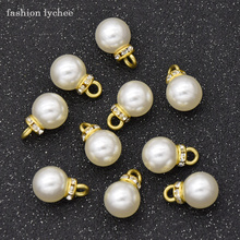 fashion lychee 10pcs Classic Crystal Artificial Pearl Pendant Necklace Dangle Earring DIY Jewelry Making Components cheap Charms TRENDY Zinc Alloy Unknown Plastic