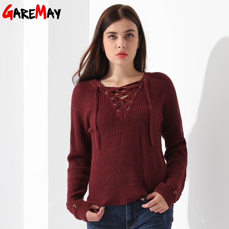 d3650f0856 Sweater Women Pullover Long Sleeve Knitted jumper Sexy Tops Winter Women s  Sweaters Knitwear Pull Femme Hiver 2019 GAREMAY-in Pullovers from Women s  ...