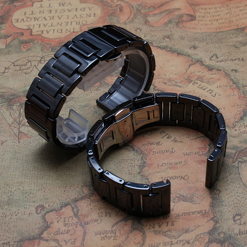 ФОТО New arrival Ceramic bracelet ladys men 20mm BLACK ceramic watchband Watch accessories butterfly clasp