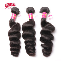 Ali Queen Product Brazilian Loose Wave Virgin Hair 3pc/lot Virgin Human Hairs Weave Bundles Salon Natural Color Can Colored 613#