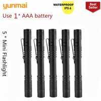 5 pcs new 2000LM Mini portable Small penholder Led Flashlight Night Walking lighting Car Maintenance work Torch Aluminum alloy