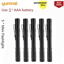 5 pcs new 2000LM Mini portable Small penholder Led Flashlight Night Walking lighting Car Maintenance work Torch Aluminum alloy