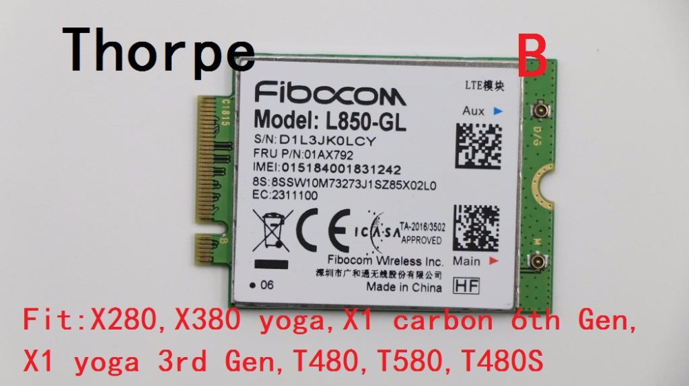 US $168 0 |NEW 4G LTE wireless module WWAN Card for Thinkpad X280 X380 yoga  X1 carbon 6th x1 yoga 3rd T480 T480S T580 L850 GL 01AX792-in 3G Modems