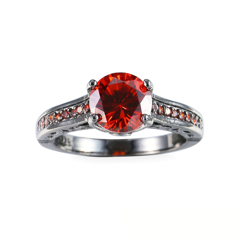 new arrival ceramic rings for women huge zircon cabochon setting blackred cryst ceramic wedding rings cute simple unique design