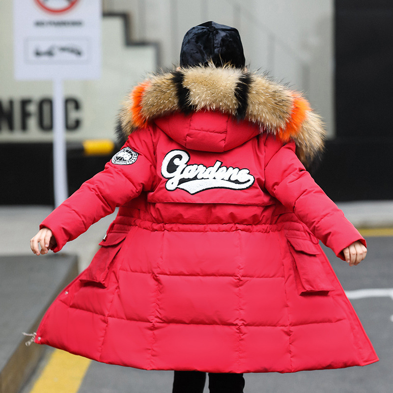 Russian Girls Winter Jacket Coat Duck Down Parkas Children's Long Model Snow Wear For Teenager Girls Hooded Thick Jacket bishe 2017 women jacket coat parkas casacos de inverno feminino long snow wear wadded jacket women outwear hooded jacket female