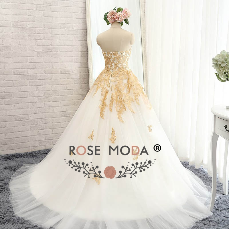 Rose Moda Luxury White and Gold Wedding Ball Gown Gold Wedding Dress ...