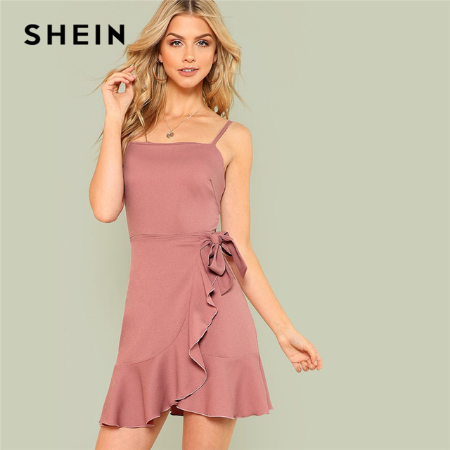 3eda3c953830 SHEIN Ruffle Overlap Hem Cami Dress Pink Spaghetti Strap Sleeveless  Backless Women Asymmetrical Dress 2018 Sexy Short Dress