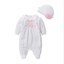 Newborn Autumn Winter Baby Girl Clothing   Lace Jumpsuit Footies Overall with Cap White Pink Sleeping Bag Infant Baby Clothes