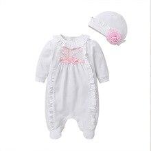 Noworodka jesień zima Baby Girl odzież koronki kombinezon stopy ogólnie z Cap biały różowy śpiwór dla niemowląt ubranka dla dzieci