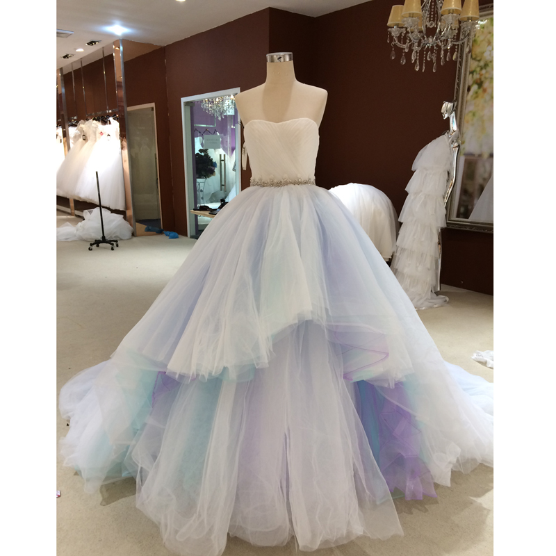 Arco iris de Colores Vestidos de Baile 2017 Sweetheart Con Gradas de Tulle del v