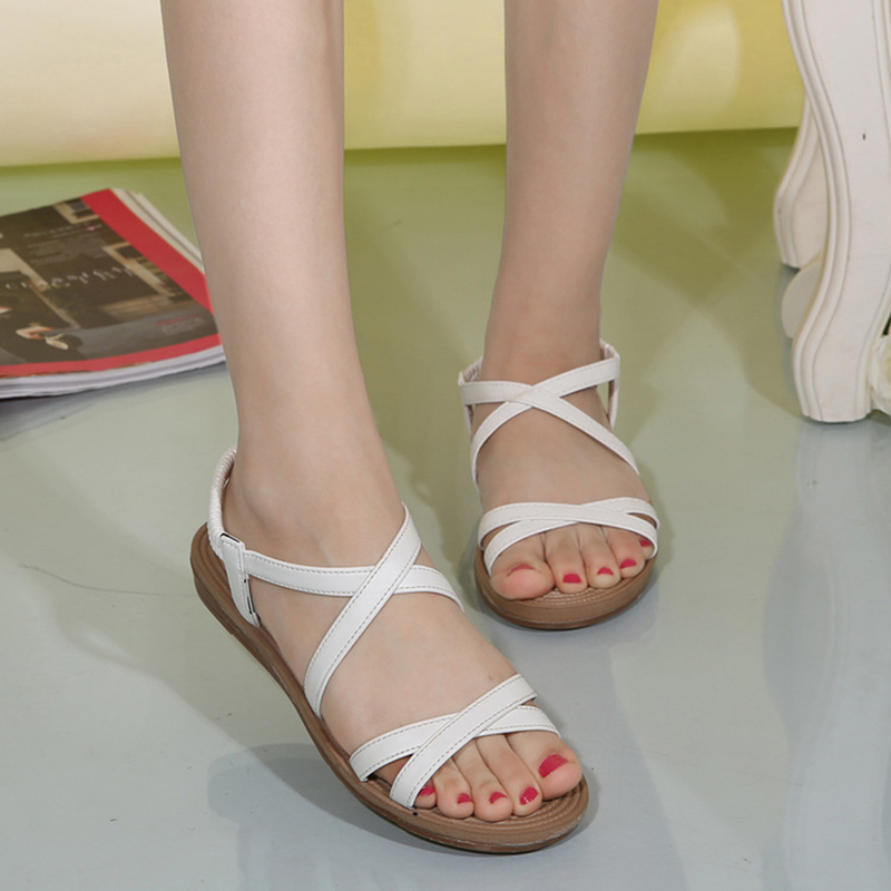 DreamShining Summer Fashion New Women Sandals  Flat Shoes Bandage Bohemia Leisure Lady Sandals Peep-Toe Outdoor Shoes Size 36-40 dreamshining new fashion women colorful flat shoes women s flats womens high quality lazy shoes spring summer shoes size eu35 40