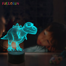 3D Lamp LED Dinosaur Table Night Light Kids Birthday Gifts Colorful Bedroom Sleeping Decoration Lamp цена