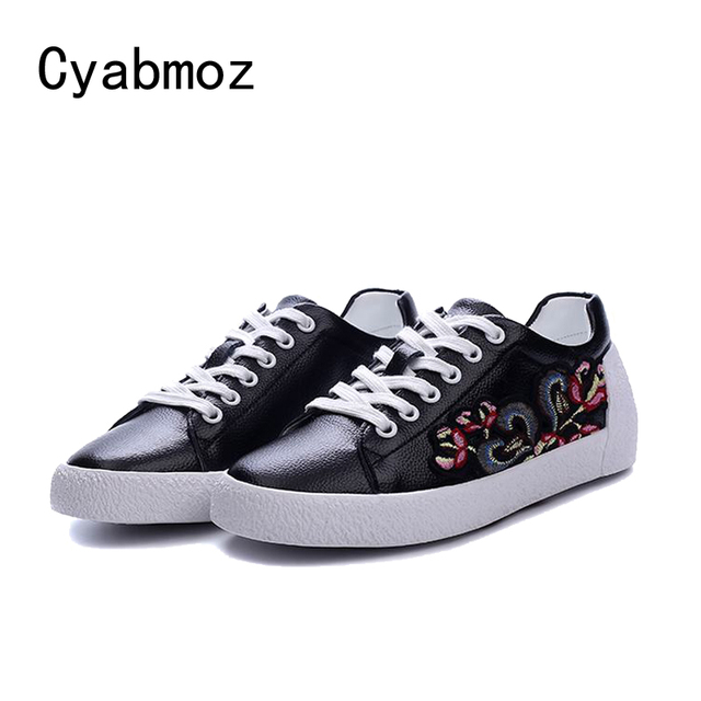 Ladies Shoes Us56 Flower Women's Platform Mujer Tenis Lace Up Casual In 9cyabmoz Flat Fashion Women Party Woman Feminino Embroidery Zapatos wPnOX08k