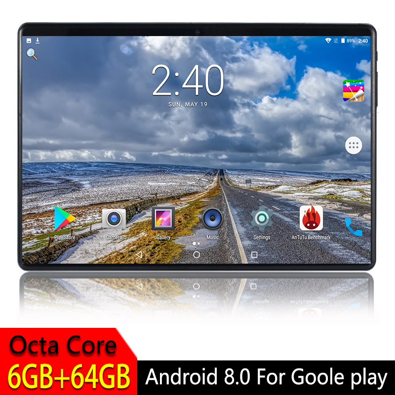 Tablet PC Tempered-Glass WIFI Play Android 8.0 Google 4G LTE Core 6GB for Screen-Octa