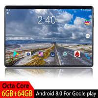 10.1 polegada Tablet PC Android 8.0 Para O Google Play 2.5D Vidro Temperado Tela Octa Núcleo SIM 3G 4G LTE WIFI GPS RAM GB 64 6GB Tablet