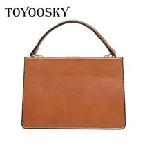 TOYOOSKY Women Bags Vintage Leather Messenger Bag Handbags Famous Brands Clip ShoulderBag New Arrive Ladies Crossbody Flap