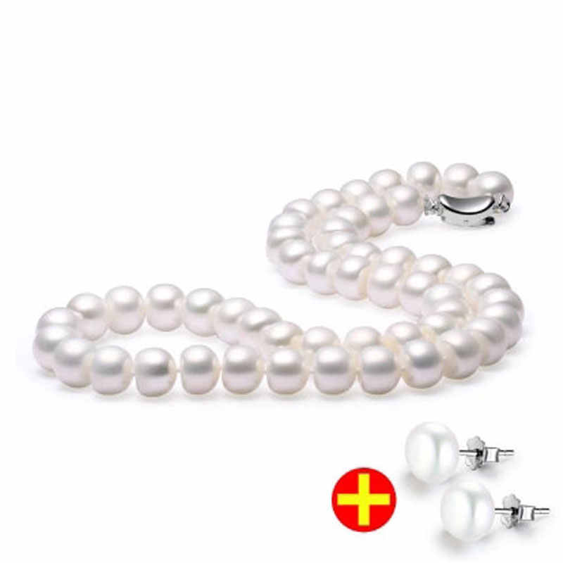 Super Deal 45cm natural freshwater pearl necklace with 8-9mm bread round pearl earrings for women gift white pink purple 2017