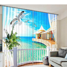 Seascape 3d curtains for Living room window treatments modern curtains for Beding room high-precision shade 3d curtains for home