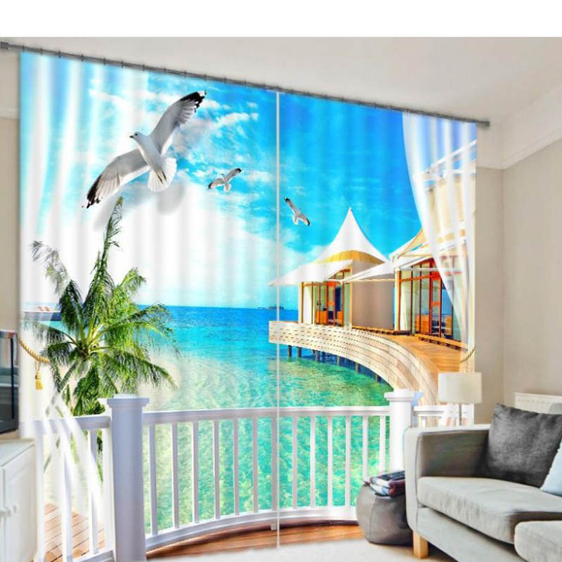 Seascape 3d curtains for living room window treatments for 3 living room windows