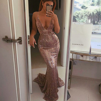 Sexy Open Back Sequined Maxi Dress Floor Length Dress Sleeveless Strapless Deep V Neck Mermaid Party Dress Champagne Gold Silver