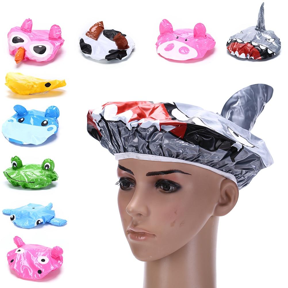 animal:  Arrival Cute Cartoon Animal Design Waterproof PVC Elastic Spa Shower Cap Hat Bath Hair Cover Protector Hats Bathroom Product - Martin's & Co