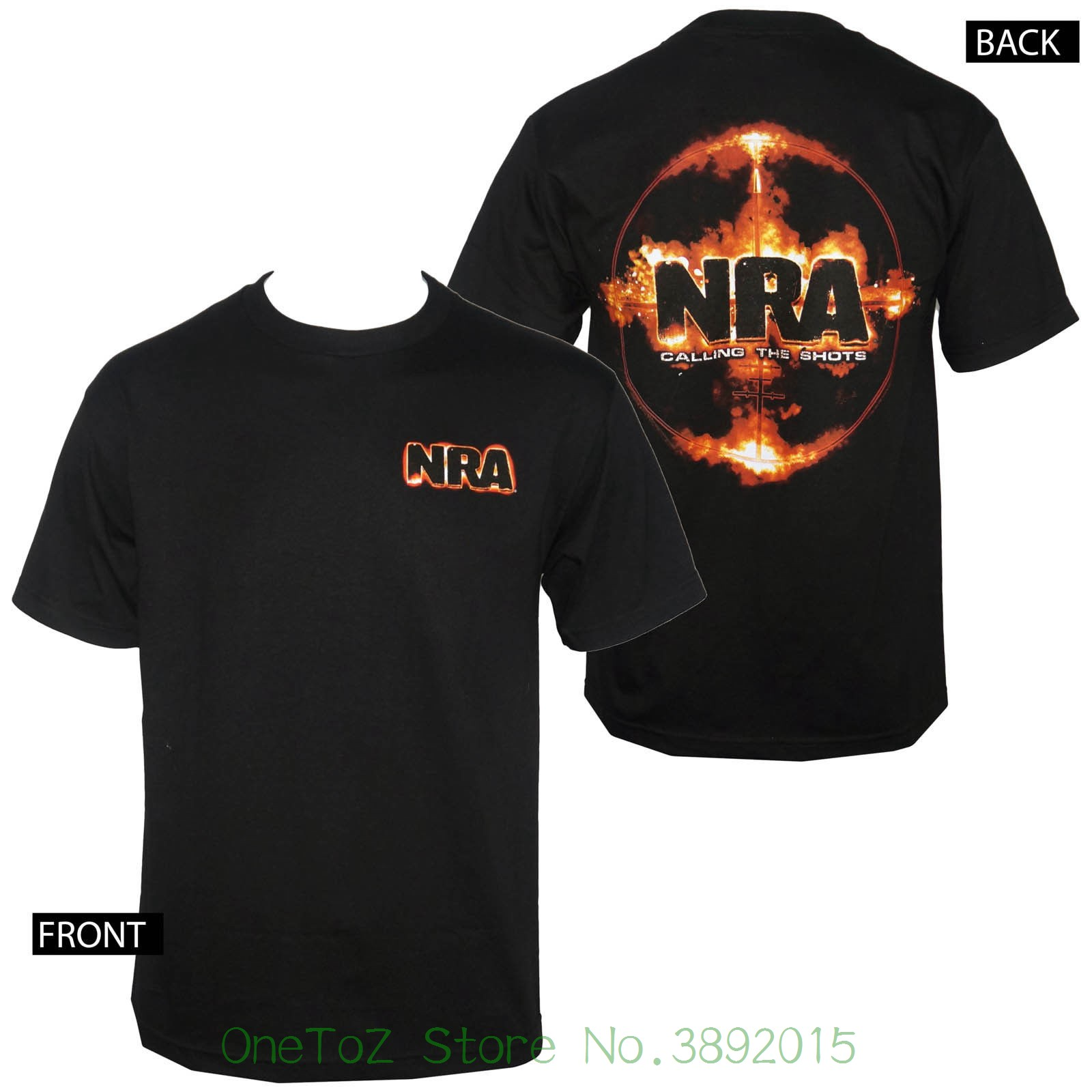 Новый 2018 Летний стиль футболка лицензированный нра область вызова выстрелы Мужская черная футболка S-3XL Новый