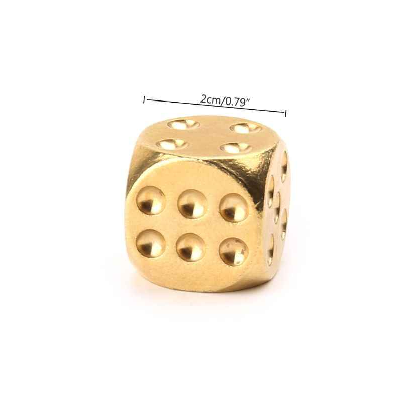 New 1 Pc Solid Polished Brass Dice 20mm Metal Cube Copper Poker Bar Board Game Gift Entertainment Accessory