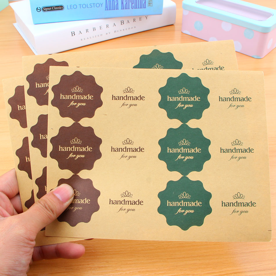 Handmade 120Pcs 4 color Adhesive Stickers Kraft Label Sticker Diameter 4*4CM For Diy Hand Made Gift Cake Candy Paper Tags dhl self adhesive matte white a4 kraft paper square label library book shipping label print stickers fit laser inkjet printer