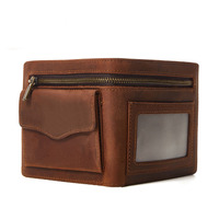 Famous Brand Genuine Leather Men Wallets Vintage Small Wallet Male Slim Purse Mini Wallet Coin Purse Money Credit Card Holder