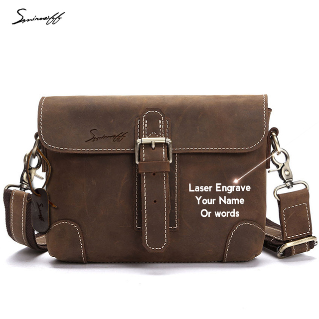 Man Fashion Leisure Handbag Laser Engrave Motto Luxury Brand Genuine Leather Book Bag For College Student