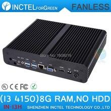 Мощный безвентиляторный малый компьютерная i3 4150 с процессор Intel i3 4150 3.5 ГГц жк-hdmi VGA DP три дисплей с 8 г 512ram только