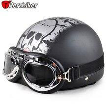 2016 Cool skull Open Face Half Motorcycle font b Helmet b font Goggles Visor font b