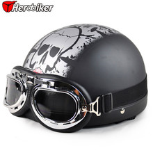 2016 Cool skull Open Face Half Motorcycle Helmet & Goggles & Visor Motocross mask