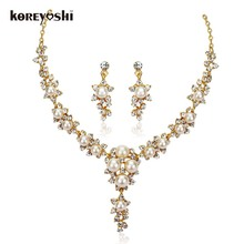 Luxury Simulated-pearl african beads jewelry set fine jewlery 18k gold plated rhinestone wedding jewelry Necklace Earrings Sets