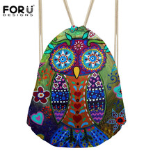 Women s Cartoon Owl Drawstring Bag Animal Dog Backpack Girls Small Bunch Pocket for Female Travel