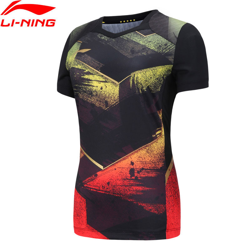 Li-Ning Women's Table Tennis Competition T-shirts For National Team AT DRY LiNing Breathable Sports Tees Tops AAYN086 WTS1465(China)