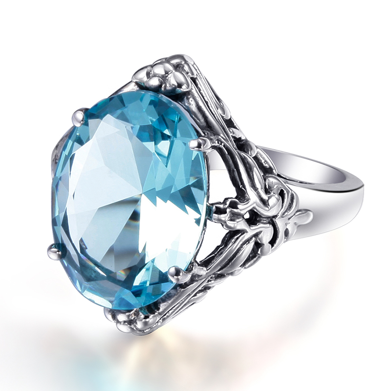 Szjinao Oval Blue Aquamarine Dreamcatcher Couples Ring Vintage 925 Sterling Silver Rings For Women Victoria Jewelry Wholesale