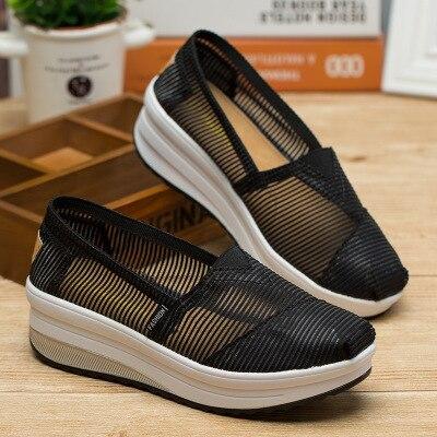 SWYIVY/женские тонизирующие туфли; сетчатая дышащая обувь на толстой подошве; обувь для танцев; Новинка года; летние легкие мягкие женские туфли для похудения - Цвет: Черный