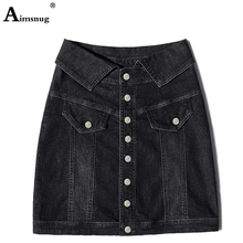 2019 Summer Women Bodycon Denim Skirt High Waist A-line Mini Arrivals Single Button Pockets Jean Style Saia