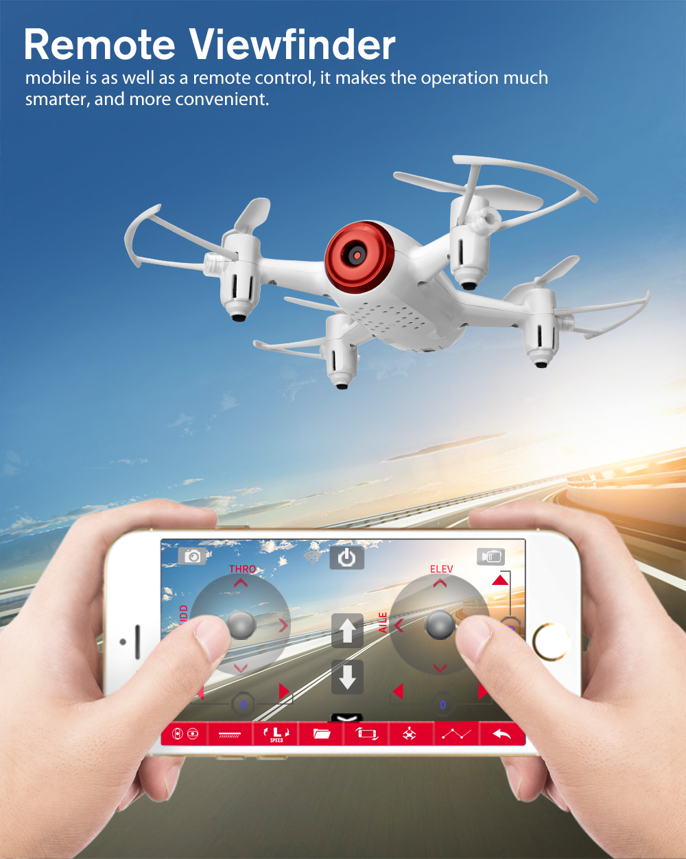 SYMA x22w Wifi FPV System Pocket Drone HD Camera Headless Mode Radio controlled Dron with Flight Plan and App Control White