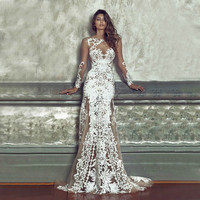 New Arrivals Sexy Perspective Vintage Lace Dresses For Ladies Longuette Party Wedding Women Summer Long Maxi