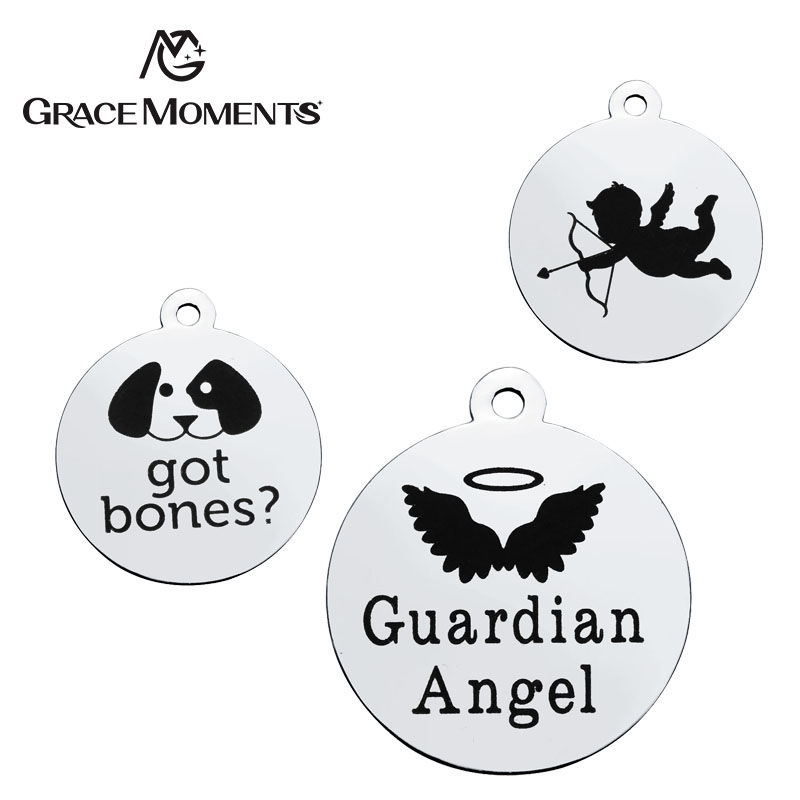 GRACE MOMENTS Round Stainless Steel Stamped Alphabet Words Animals and Signs Heart Charm For DIY Jewelry Bracelet Necklace