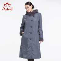 Astrid 2018 Women Trench Coat Spring and Summer coat Slim Hooded Light color Falbala Lapel Button BigSize High Quality AY 9076
