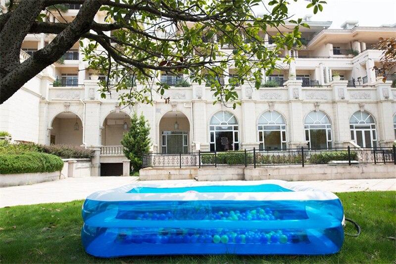 Piscina inflável azul transparente, 186*135*38cm acima do