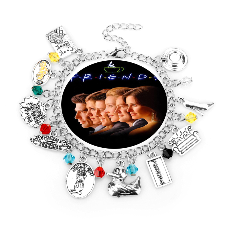 TV Show Friends Bracelets for Women Central Perk Coffee Time Smelly Cat Cook Book Charms Bangle Bracelet Female Jewelry Gift image