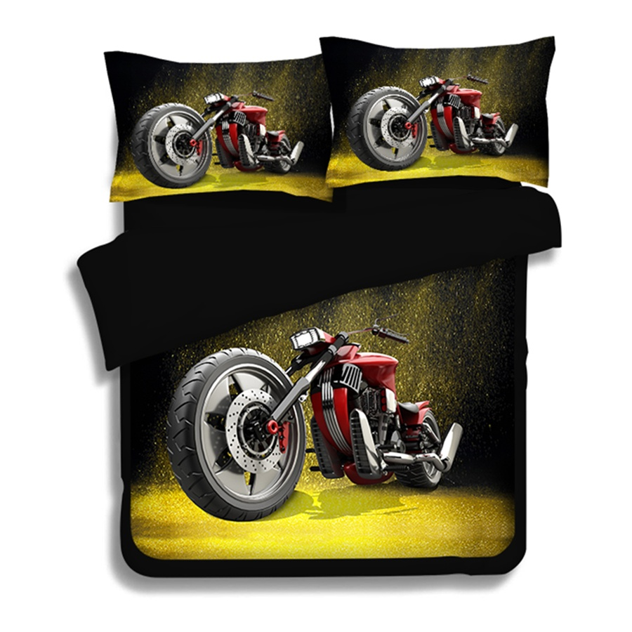Boys Motorcycle Modern Flames 3D Print Bedding Twin Full Queen King Size Duvet Cover with Pillowcase for Children or AdultsBoys Motorcycle Modern Flames 3D Print Bedding Twin Full Queen King Size Duvet Cover with Pillowcase for Children or Adults