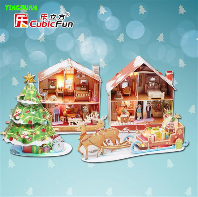 Cubic fun  of 3D paper puzzle deer car Glittering Christmas tree model Educational Toys for Children's Christmas gifts
